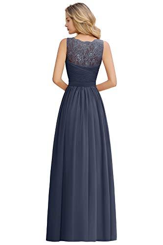 MisShow Damen elegant V Ausschnitt Spitzen Abendkleider Ballkleider Abschlusskleider Maxilang Blau...