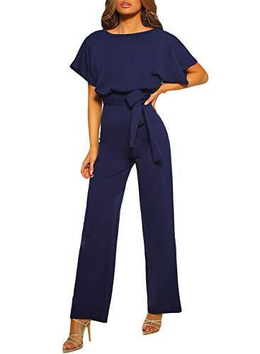 Happy Sailed Damen Langarm O-Ausschnitt Elegant Lang Jumpsuit Overall Hosenanzug Playsuit...