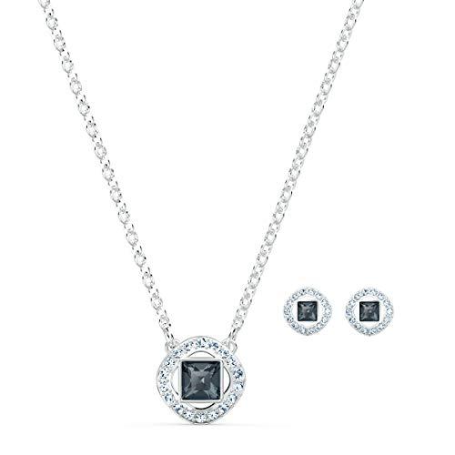 Swarovski Angelic Square Set, Rhodinierte Halskette und Ohrringe mit Funkelnden Schwarzen und...