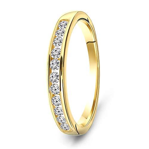 Miore Ring Damen 0.33 Ct Diamant Ewigkeitsring aus Gelbgold 14 Karat / 585 Gold, Schmuck mit...