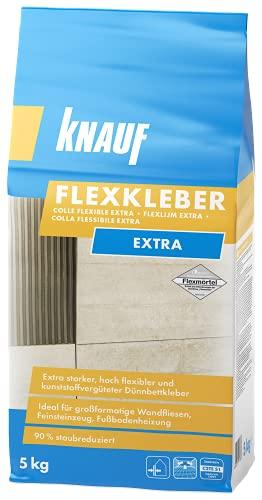 Knauf 201622 Flexkleber eXtra, Mörtel Fliesenkleber 5 kg Naturstein-Kleber für Wand und Boden, zur...