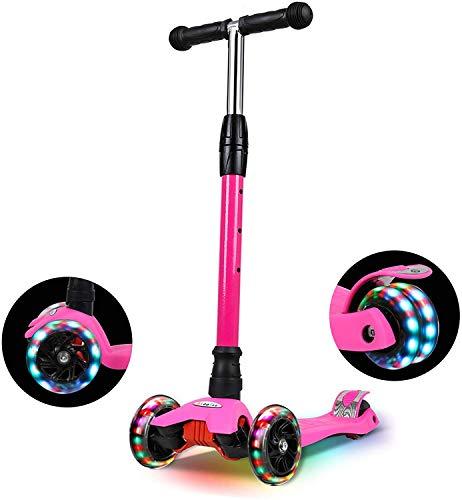 IMMEK Roller Kinder, PU Radstehende Scooter Roller mit LED-Lichtern, Scooter Kinder können auf DREI...