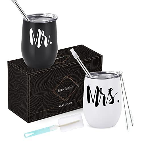 Weinbecher Hochzeitsgeschenk für Brautpaar, 12oz Mr Mrs Weinbecher für Hochzeitsgeschenke,...
