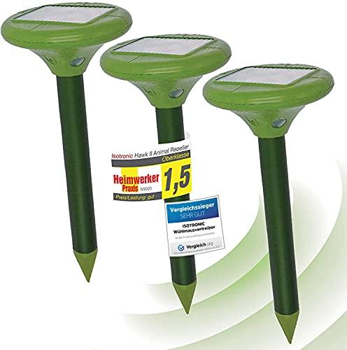 ISOTRONIC Solar LED Maulwurfabwehr Vibrasonic mit Vibrationsmotor 3er Set solarbetrieben...