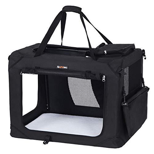 FEANDREA Hundebox Transportbox Auto Hundetransportbox faltbar Katzenbox Oxford Gewebe schwarz M 60 x...