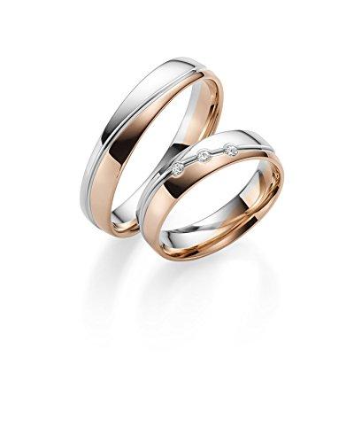 333 GOLD Trauringe in Bicolour inkl. Gravur + Stein, Paarpreis von Rubin Juwelier, poliert