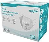 EUROPAPA 20x FFP2 Atemschutzmaske 5-Lagen Staubschutzmasken hygienisch einzelverpackt CE Stelle...
