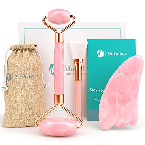 Original Jade-Massagegerät & Gua Sha-Set - Jaderoller - 100% Echte natürlicher Rosenquarz -...