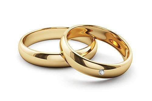 Ardeo Aurum Trauringe Damenring und Herrenring aus 375 Gold Gelbgold mit 0,02 ct Diamant Brillant...