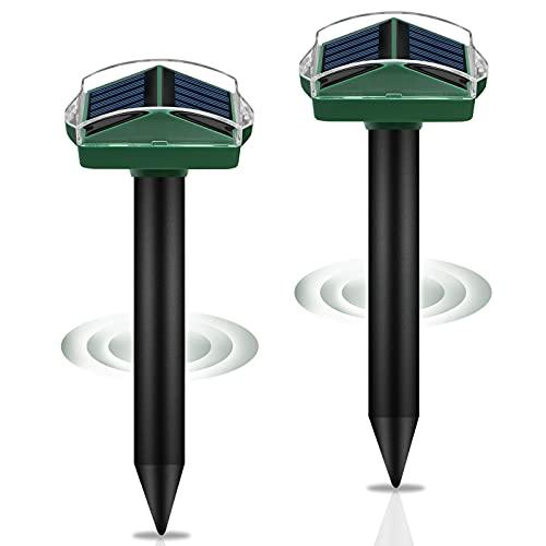 Solar Maulwurfabwehr, synmixx 2 Stück Ultrasonic Solar Maulwurfschreck mit 4 Different Sonic...