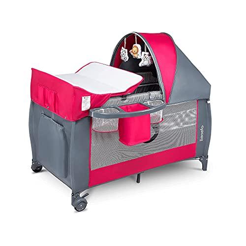 Lionelo Sven Plus 2 in 1 Baby Bett Laufstall Baby ab Geburt bis 15 kg Wickelauflage Moskitonetz...
