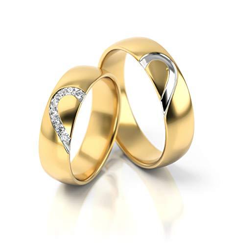 JC Trauringe Gold Paarpreis Poliert I Traumhafte Eheringe breit 5 mm I Einmalige romantische...