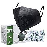 FFP2 Maske CE Zertifiziert Schwarz - 25 Stück Maske - Premium hygienische Einzelnverpackung...