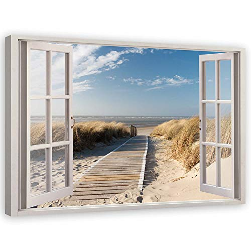 Leinwandbild XXL 3D Illusion Wandbild Modern Kunstdruck Küste Nordsee Strand Natur Landschaft Insel...