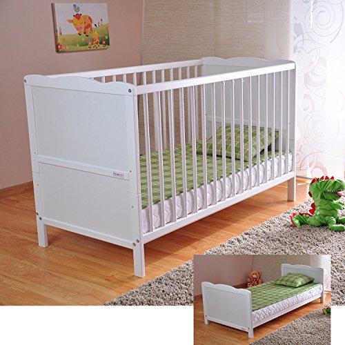 BABY Gitterbett Babybett Kinderbett mit Aloe Vera Schaumstoffmatratze Zahnschienen höhenverstellbar...