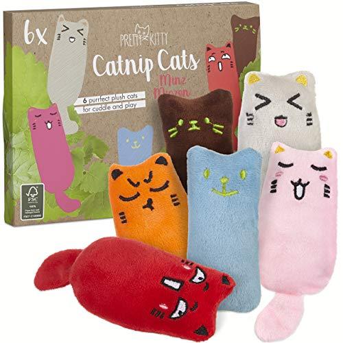 6x Minz Miezen: Premium Katzenspielzeug Set aus Katzenkissen mit Katzenminze – 6x Katzen Kissen...