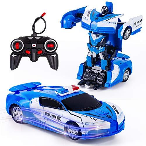 Vubkkty Transformator Ferngesteuertes Auto Spielzeug für Jungen, 2 in 1 rc Auto Kinder Roboter...