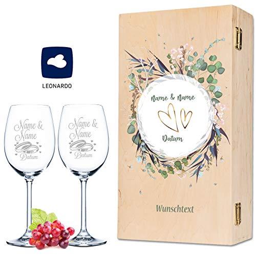 Leonardo Weingläser mit Gravur von Namen & Datum im - Flower Wedding Design - als Geschenk zur...