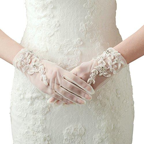 ArtiDeco Damen Lace Handschuhe Satin Braut Hochzeit Spitze Handschuhe Opera Fest Party Handschuhe...