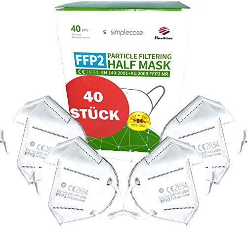 Simplecase 40 Stück FFP2 Maske, CE Zertifiziert von offiziell benannter Stelle CE2834,...
