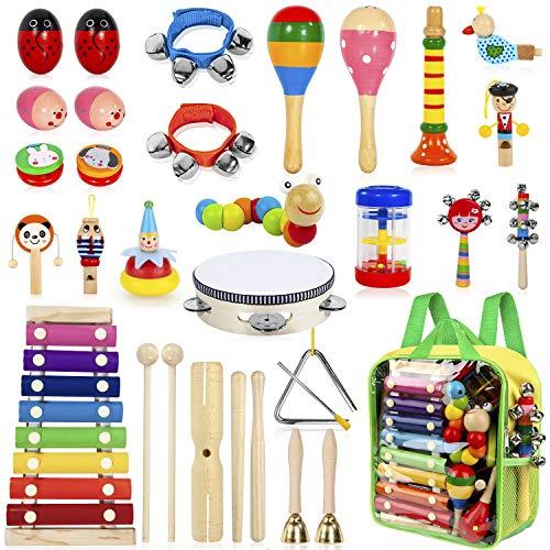 AILUKI 27 Stück Musikinstrumente Musical Instruments Set, Holz Percussion Set Schlagzeug Schlagwerk...