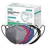 IDOIT FFP2 Mund- und Nasenschutz Maske, 20 Stück 5 farbige CE zertifizierte bunte Atemschutzmasken...