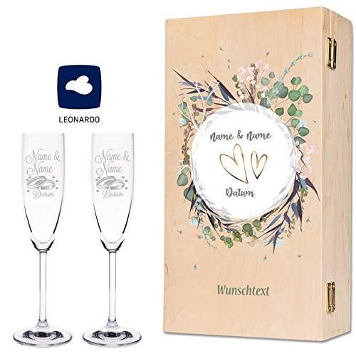 Leonardo Sektgläser mit Gravur von Namen & Datum im - Flower Wedding Design - als Geschenk zur...