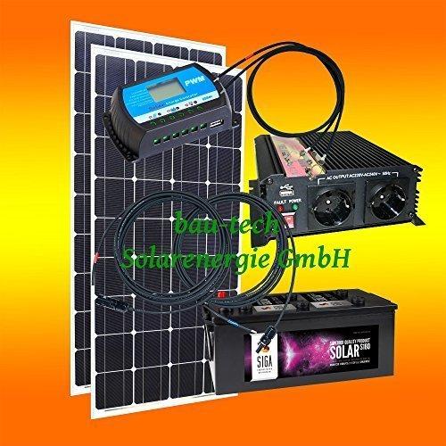 260 Watt Inselanlage, 12 Volt Komplett SET mit Spannungswandler mit Batterie von bau-tech...